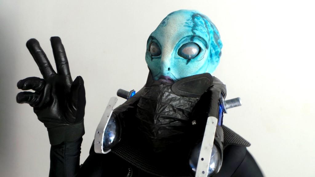 Il compagno di Hellboy. La testa è completamente ricostruita con protesi