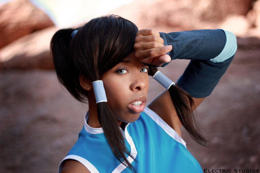 Korra cosplay sweating make up