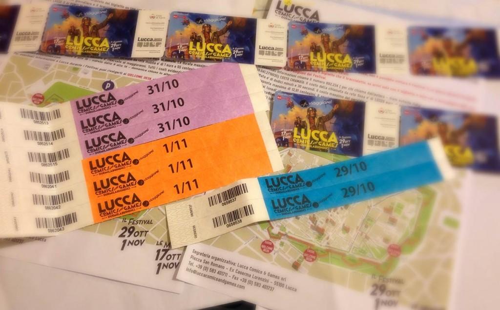 Biglietti e braccialetti per l'ingresso al Lucca Comics and Games